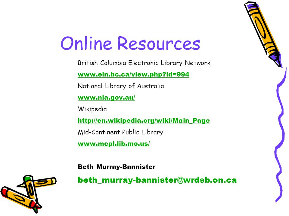 Online Resources beth_murray-bannister@wrdsb.on.ca