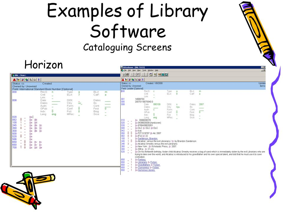 Examples of Library Software Cataloguing Screens