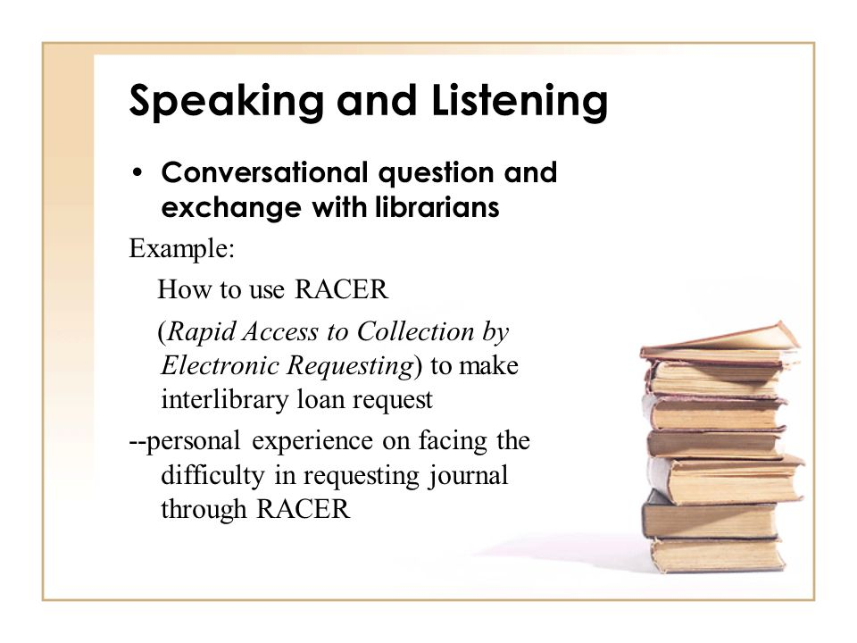Speaking and Listening