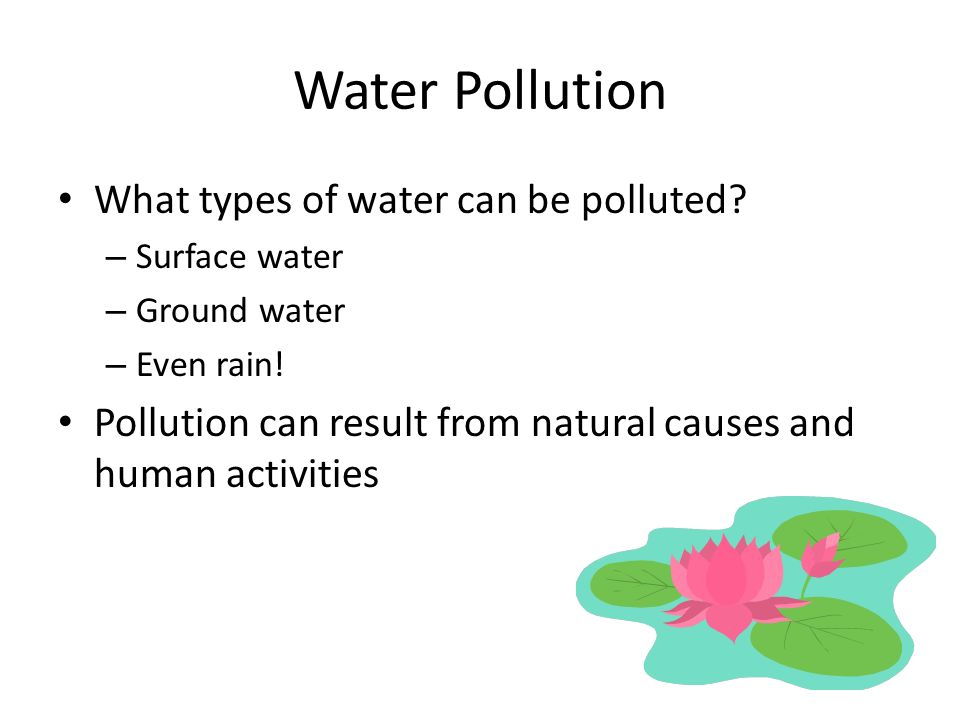 Water Pollution What types of water can be polluted