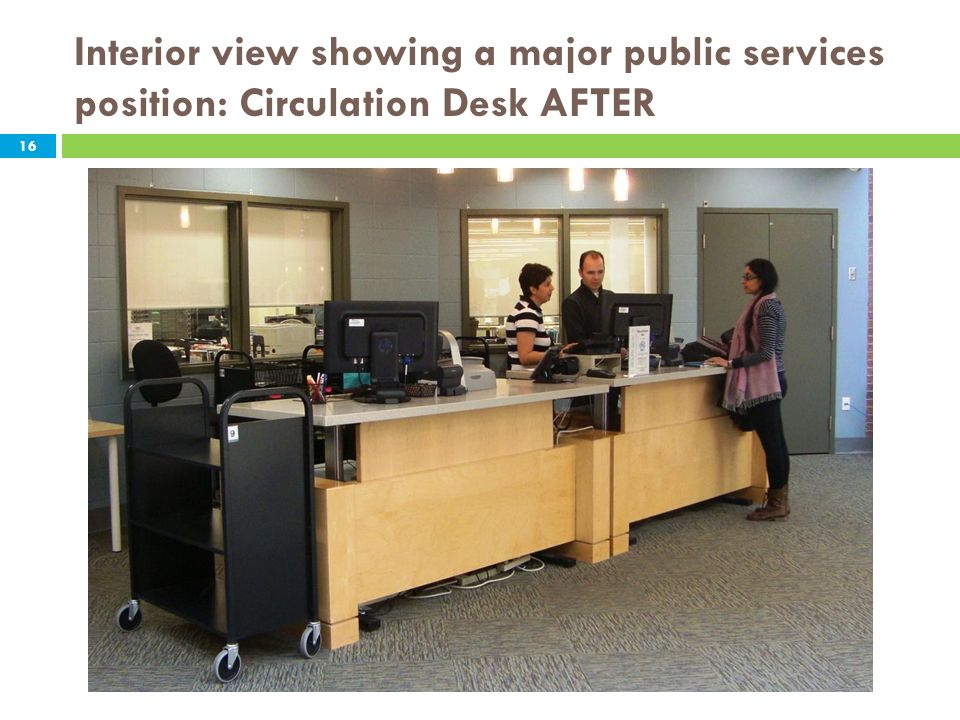 Interior view showing a major public services position: Circulation Desk AFTER