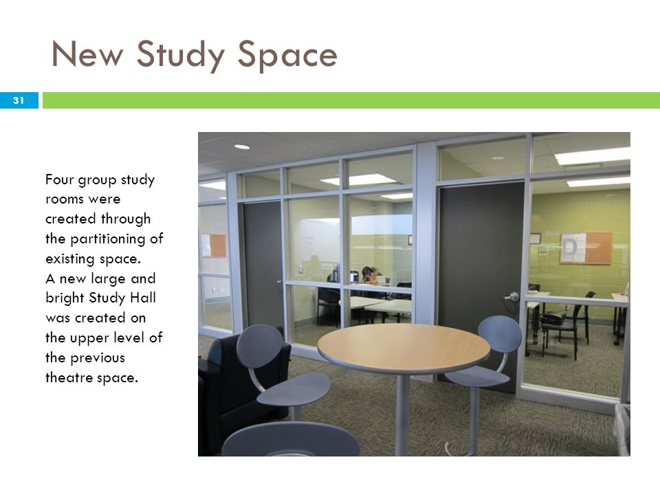 New Study Space Four group study rooms were created through the partitioning of existing space.