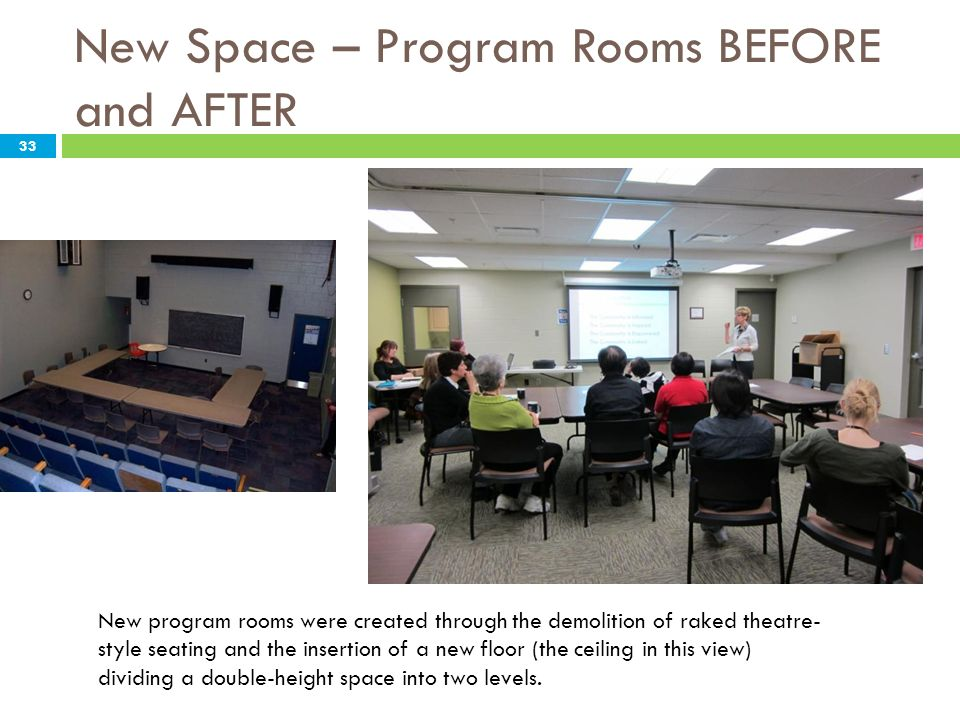 New Space – Program Rooms BEFORE and AFTER