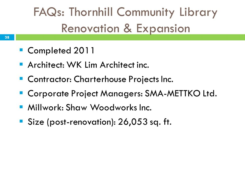 FAQs: Thornhill Community Library Renovation & Expansion