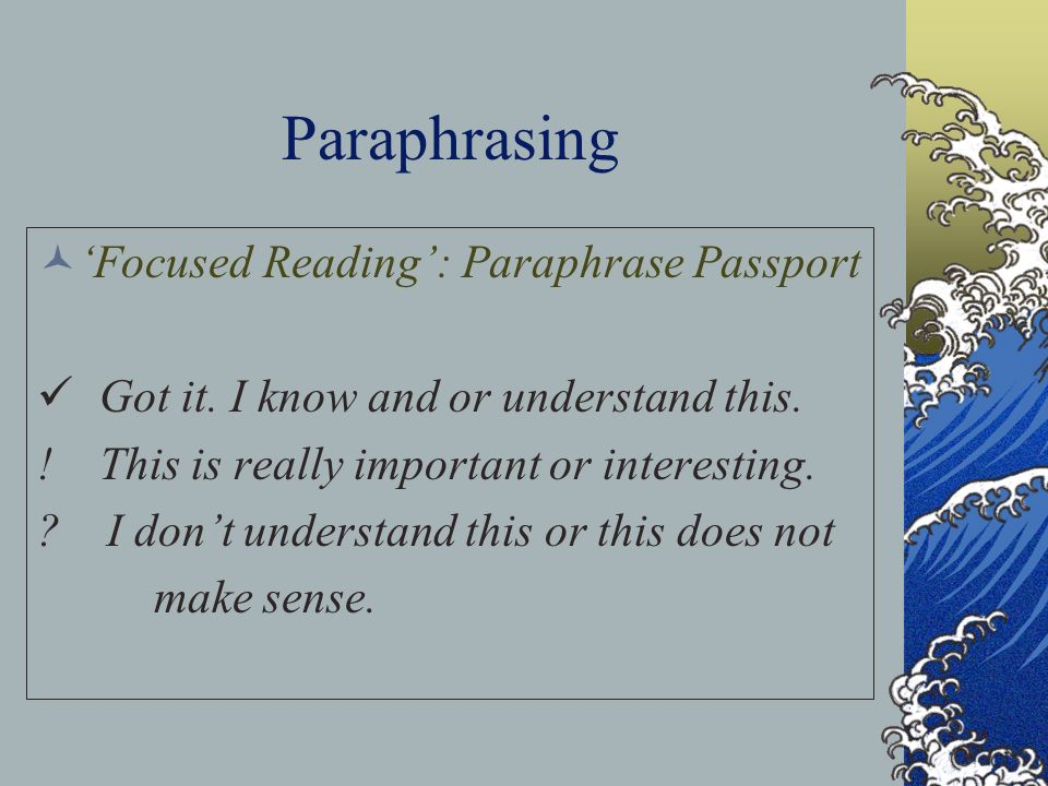 Paraphrasing 'Focused Reading': Paraphrase Passport