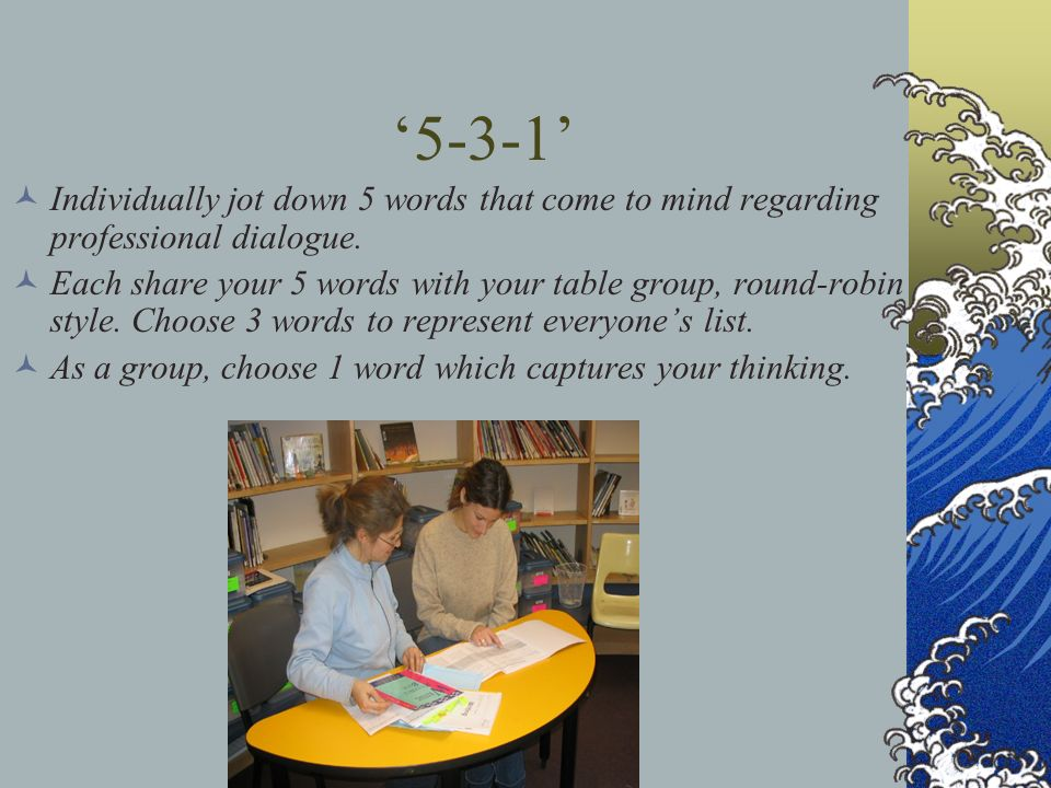 '5-3-1'Individually jot down 5 words that come to mind regarding professional dialogue.