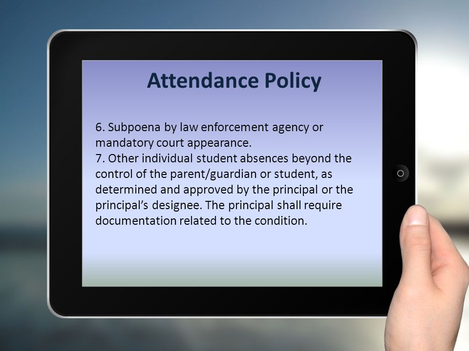 mandatory attendance policies 2016-2-26  compulsory school attendance attendance policies and grades the sections of the revised school code that address this issue are contained in.
