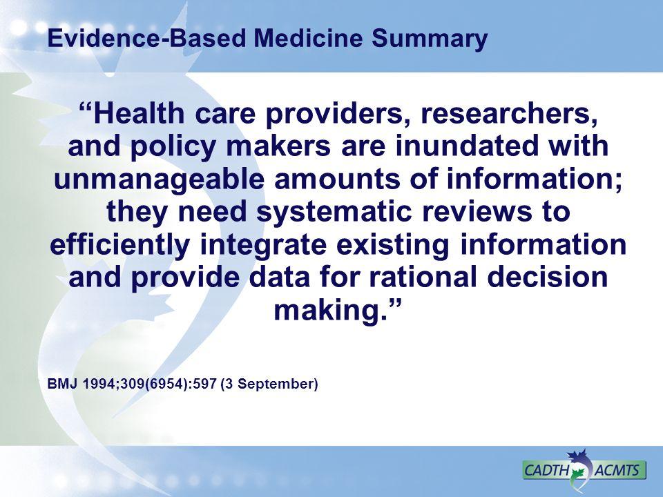 Evidence-Based Medicine Summary