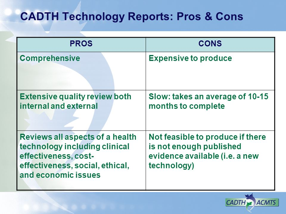 CADTH Technology Reports: Pros & Cons