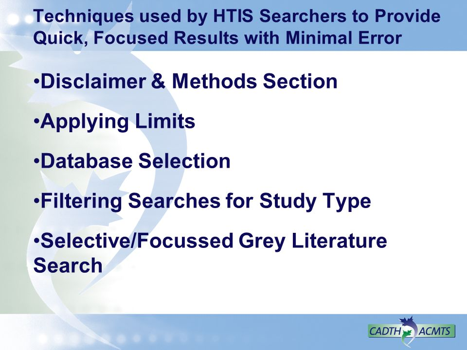 Disclaimer & Methods Section Applying Limits Database Selection