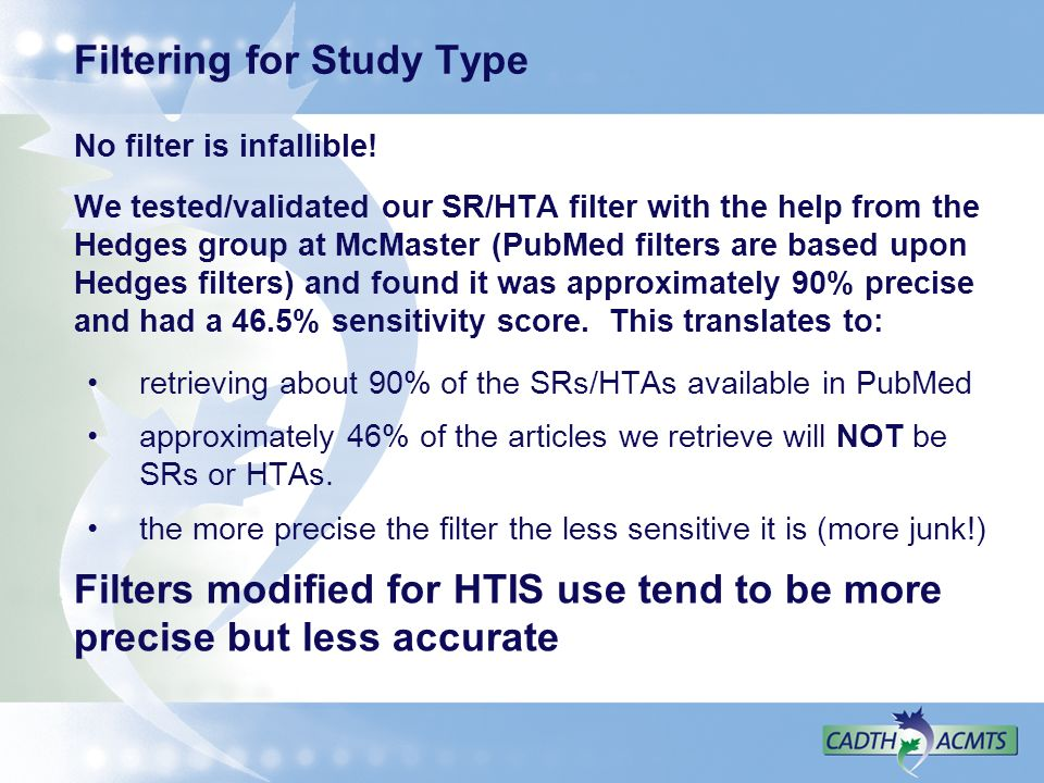 Filtering for Study Type