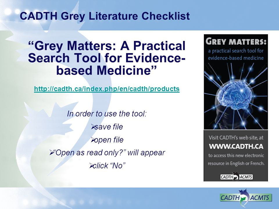 CADTH Grey Literature Checklist