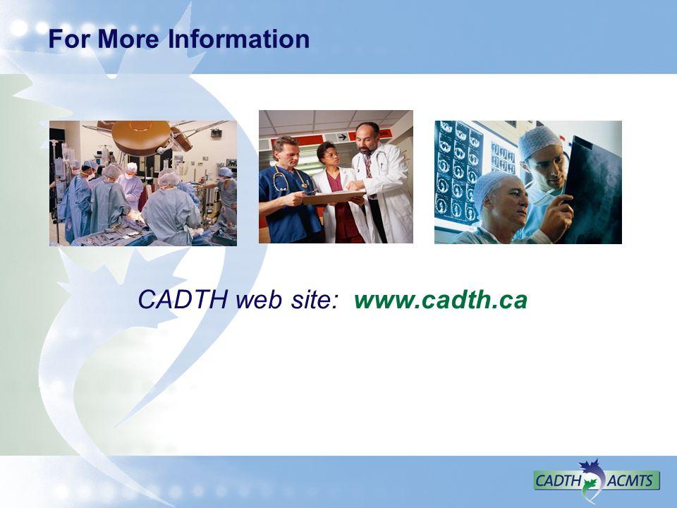 CADTH web site: www.cadth.ca