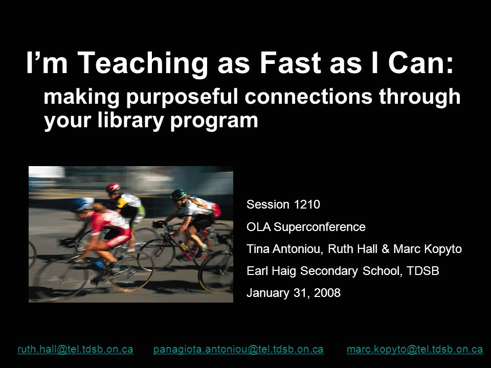 I'm Teaching as Fast as I Can:
