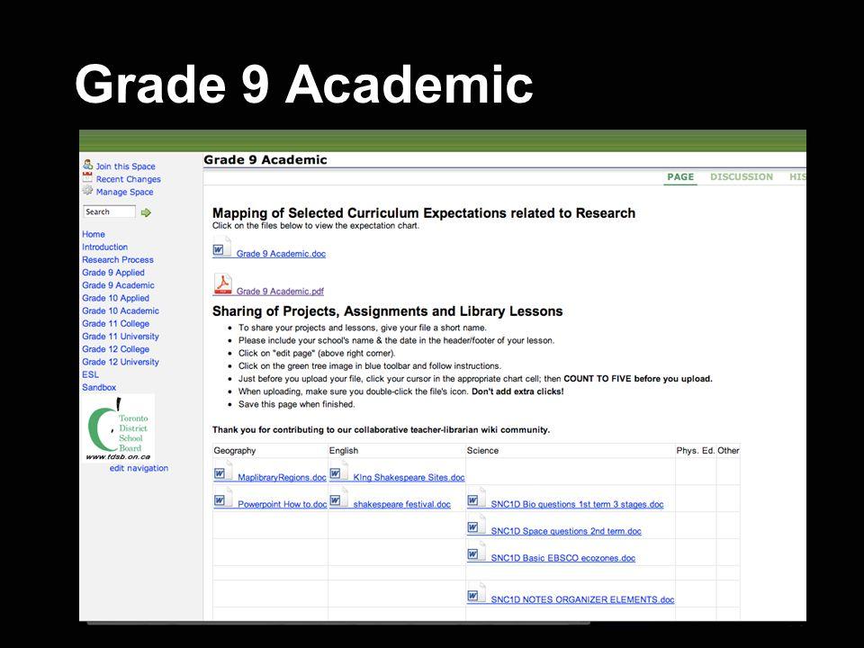 Grade 9 Academic