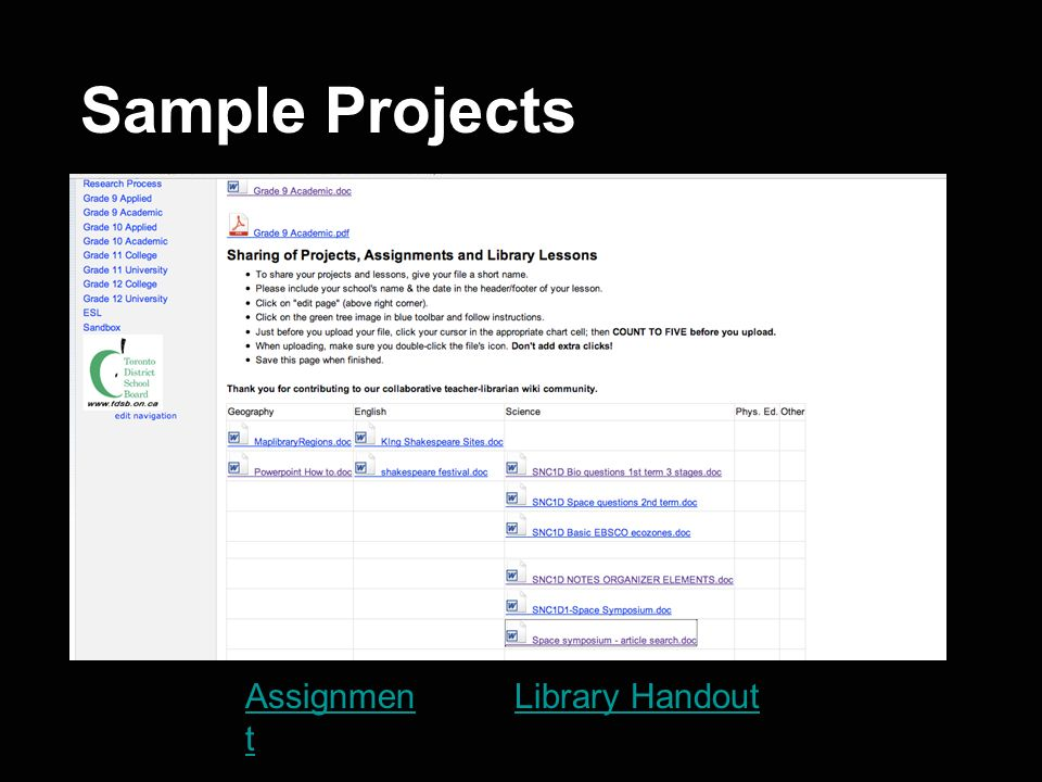 Sample Projects Assignment Library Handout