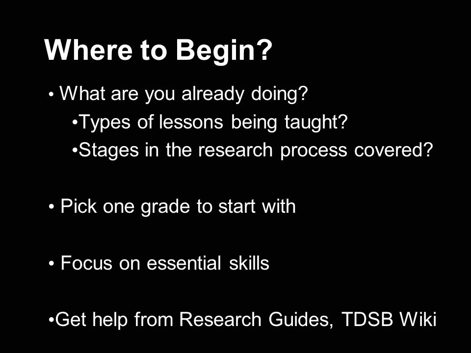 Where to Begin Types of lessons being taught
