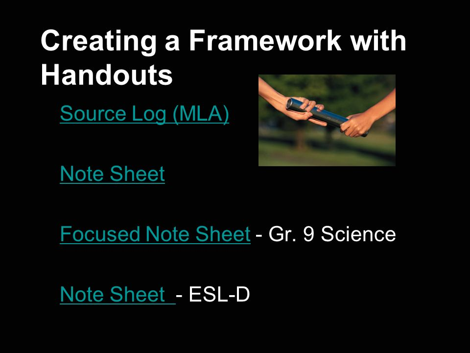 Creating a Framework with Handouts