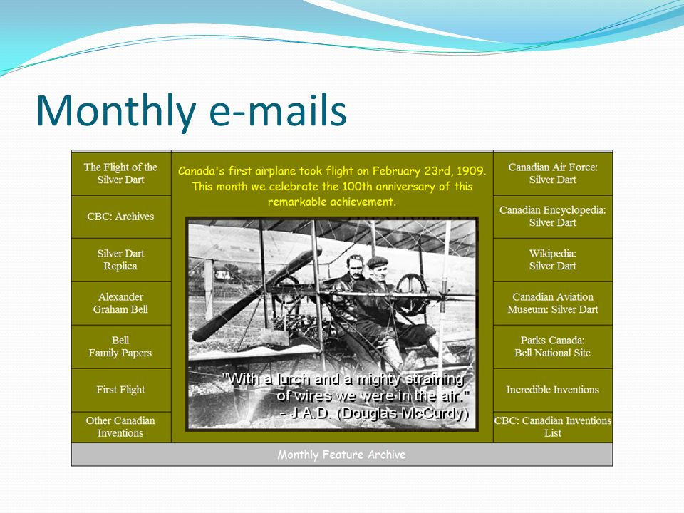 Monthly e-mails