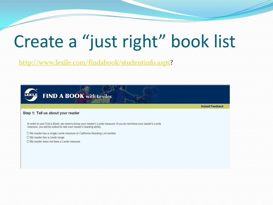 Create a just right book list
