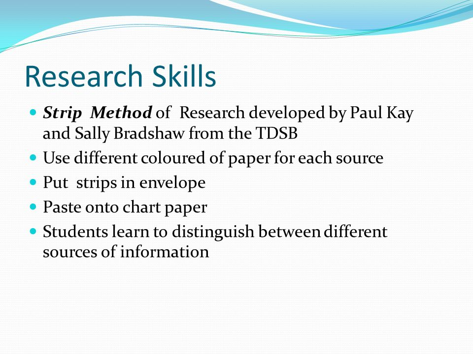 Research Skills Strip Method of Research developed by Paul Kay and Sally Bradshaw from the TDSB. Use different coloured of paper for each source.