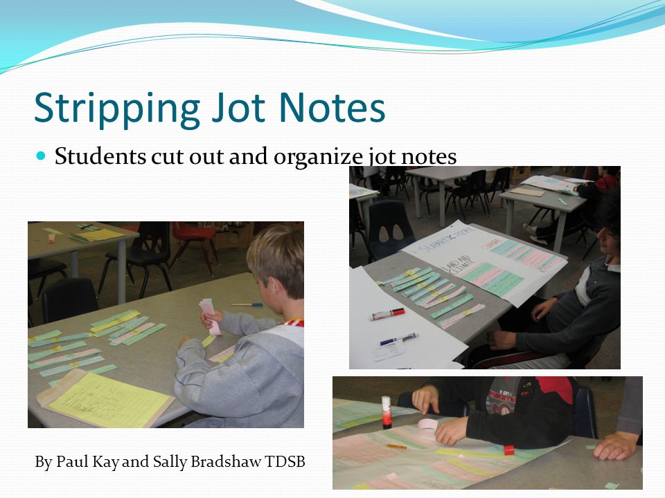 Stripping Jot Notes Students cut out and organize jot notes