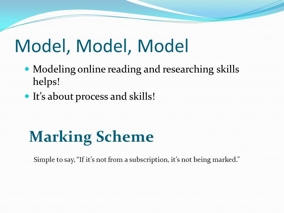 Model, Model, Model Marking Scheme