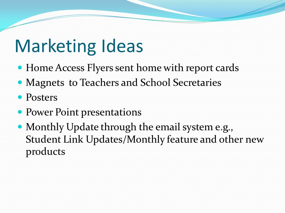 Marketing Ideas Home Access Flyers sent home with report cards