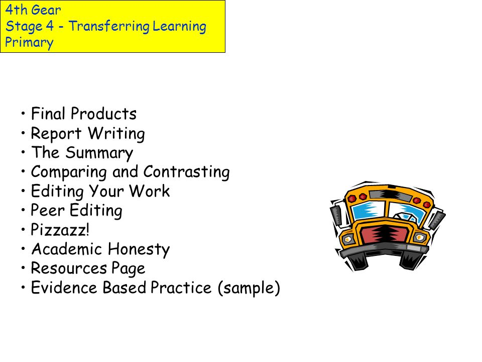4th Gear Stage 4 - Transferring Learning Primary