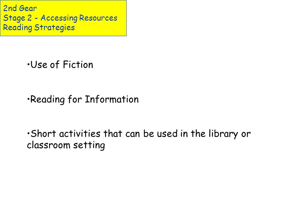2nd Gear Stage 2 - Accessing Resources Reading Strategies