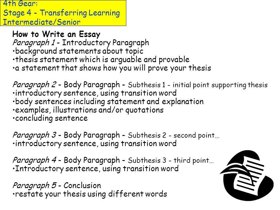 4th Gear: Stage 4 - Transferring Learning Intermediate/Senior