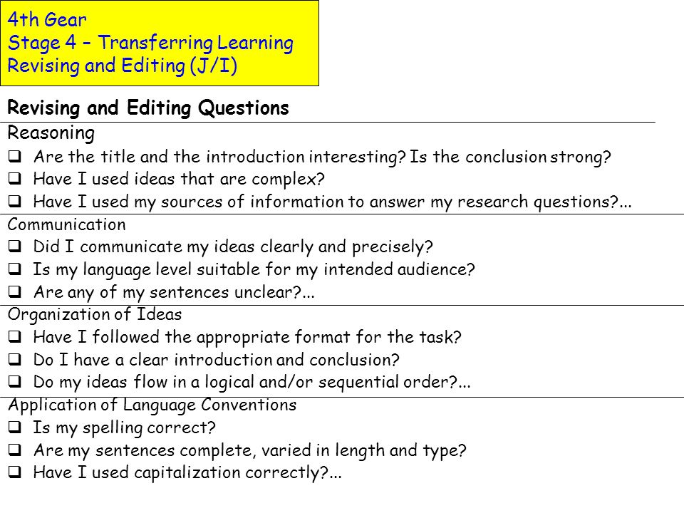 4th Gear Stage 4 – Transferring Learning Revising and Editing (J/I)