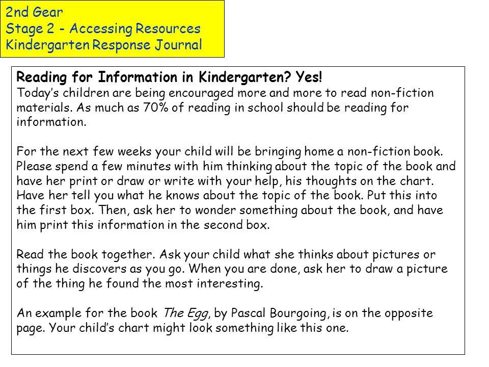 2nd Gear Stage 2 - Accessing Resources Kindergarten Response Journal