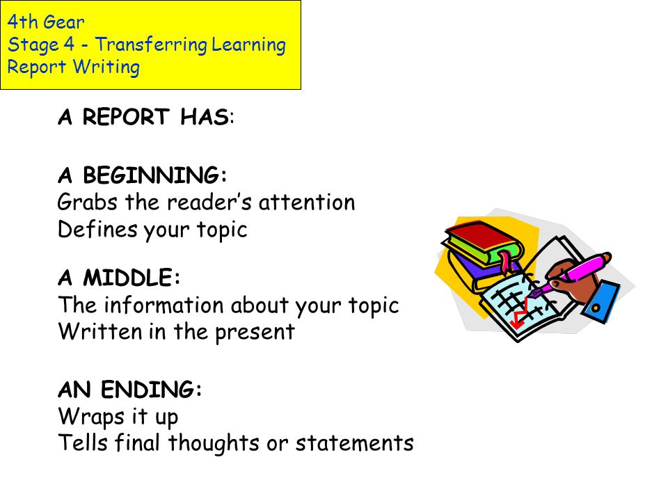 4th Gear Stage 4 - Transferring Learning Report Writing