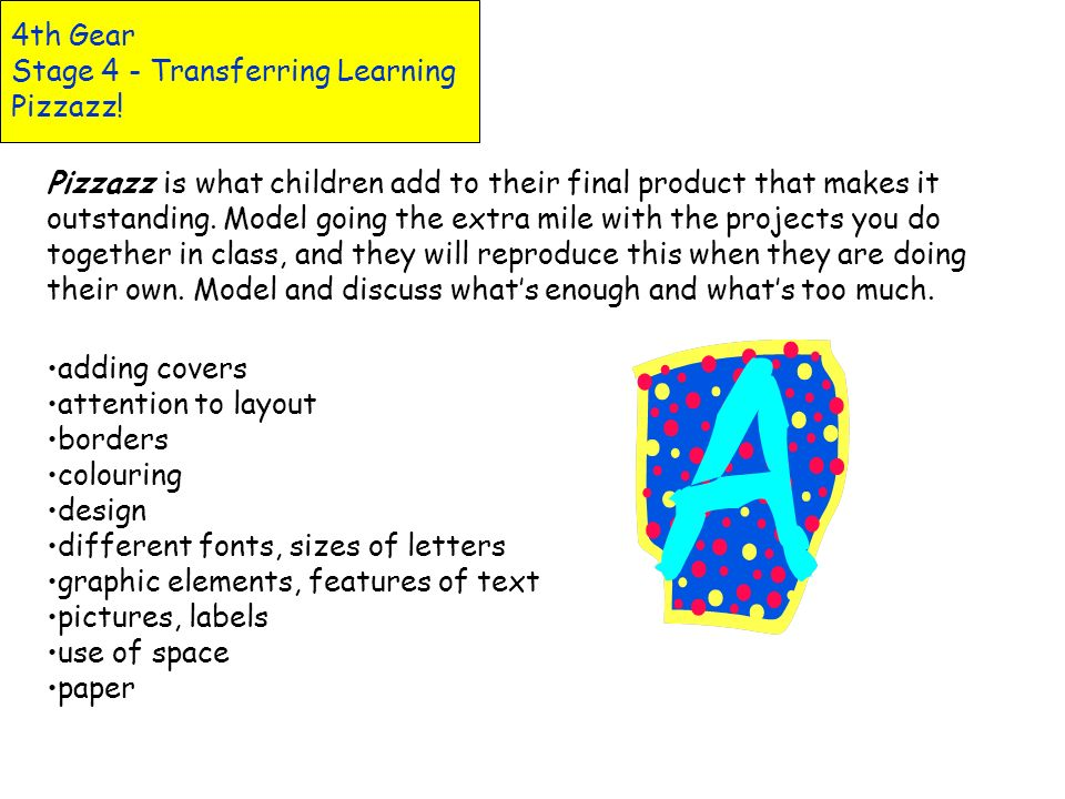 4th Gear Stage 4 - Transferring Learning Pizzazz!