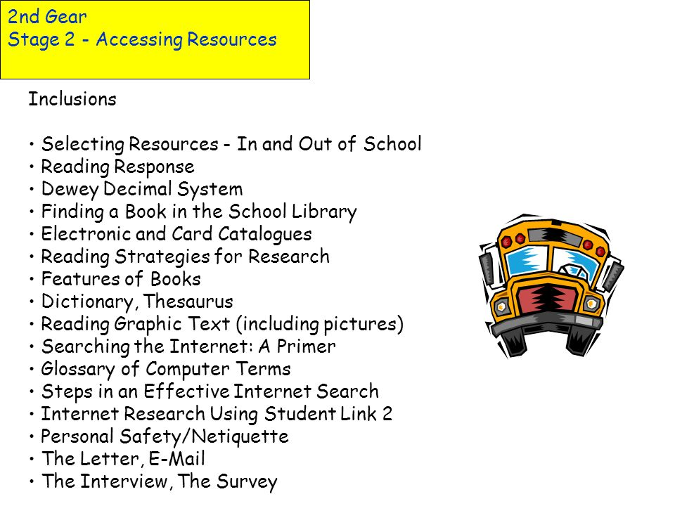 2nd Gear Stage 2 - Accessing Resources