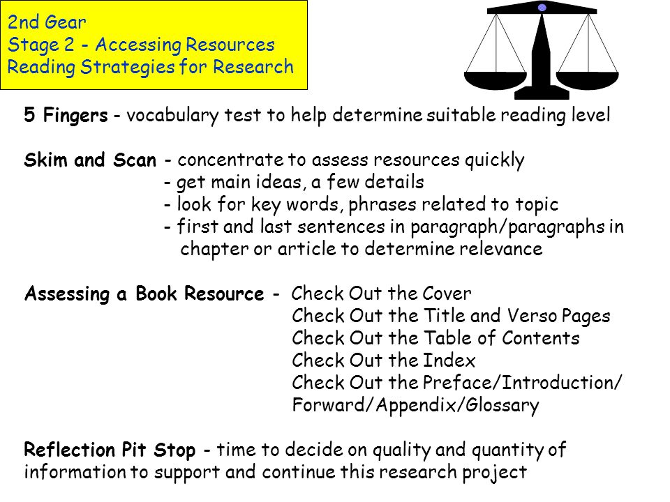 2nd Gear Stage 2 - Accessing Resources Reading Strategies for Research