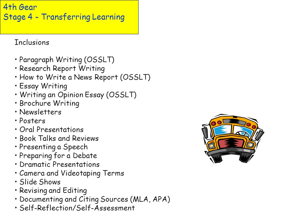 4th Gear Stage 4 - Transferring Learning