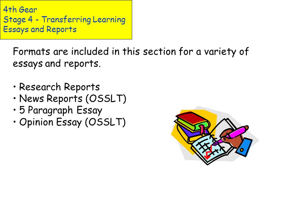 4th Gear Stage 4 - Transferring Learning Essays and Reports