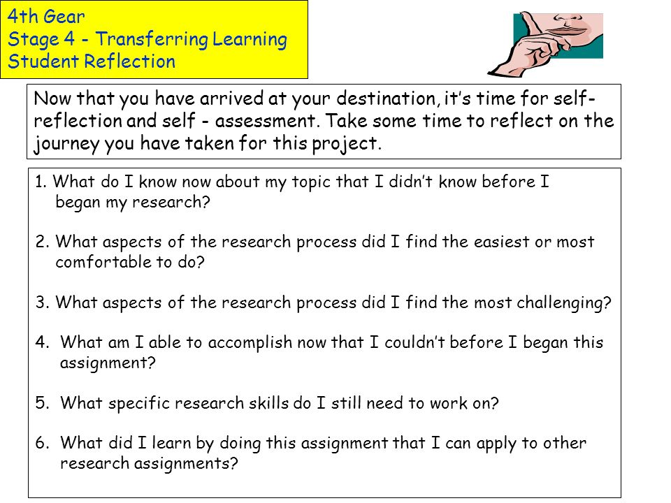 4th Gear Stage 4 - Transferring Learning Student Reflection
