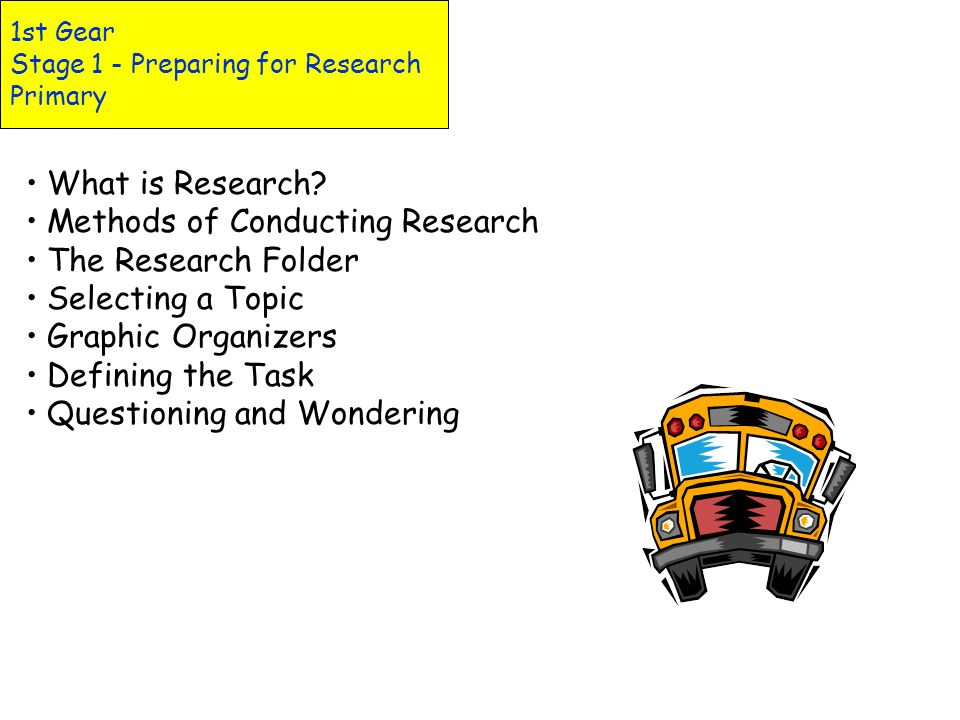 1st Gear Stage 1 - Preparing for Research Primary