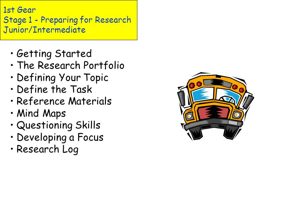 1st Gear Stage 1 - Preparing for Research Junior/Intermediate