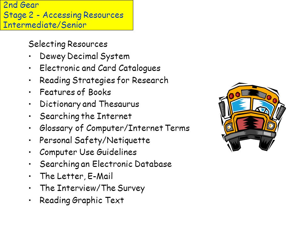 2nd Gear Stage 2 - Accessing Resources Intermediate/Senior