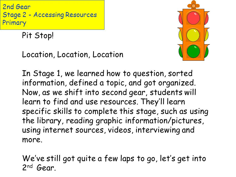 2nd Gear Stage 2 - Accessing Resources Primary