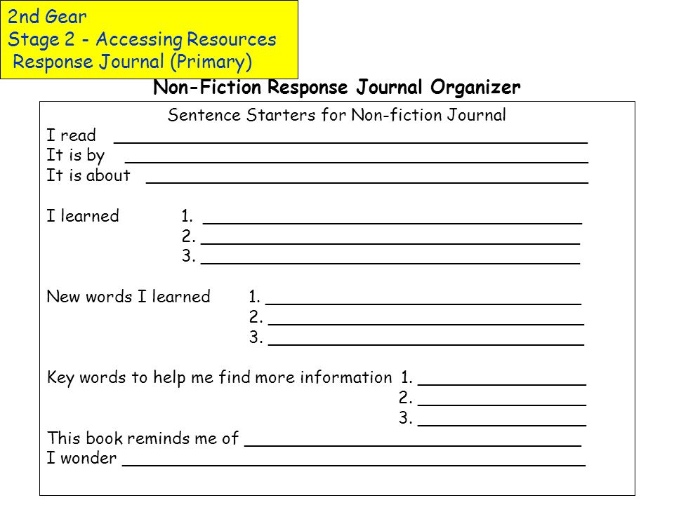 2nd Gear Stage 2 - Accessing Resources Response Journal (Primary)