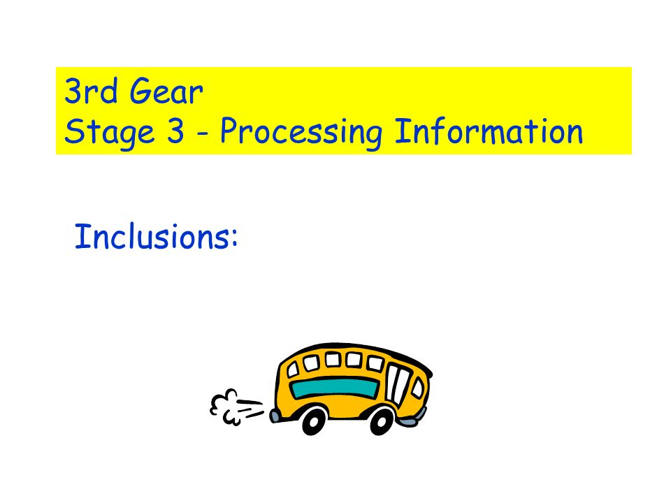 3rd Gear Stage 3 - Processing Information Inclusions: