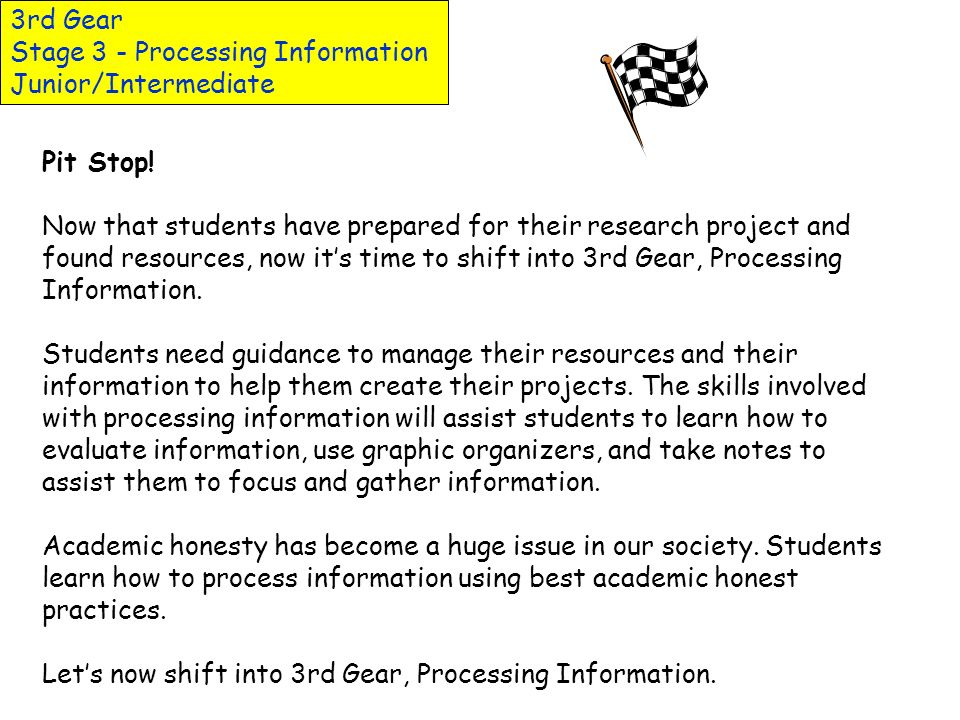 3rd Gear Stage 3 - Processing Information Junior/Intermediate