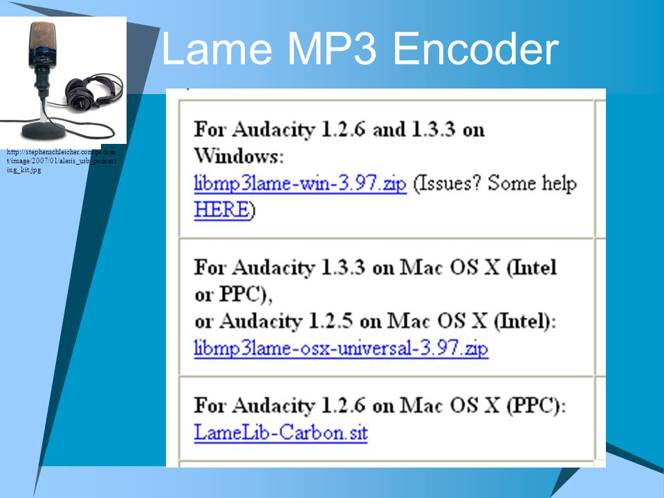 Lame MP3 Encoder http://stephenschleicher.com/podcast/image/2007/01/alesis_usb_podcasting_kit.jpg.