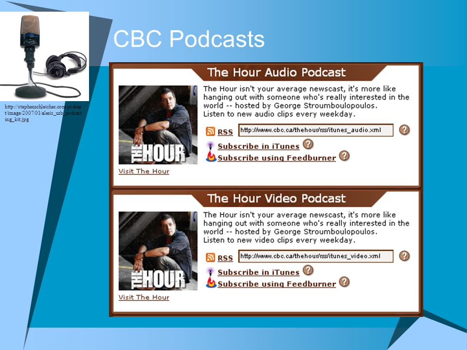 CBC Podcasts http://stephenschleicher.com/podcast/image/2007/01/alesis_usb_podcasting_kit.jpg