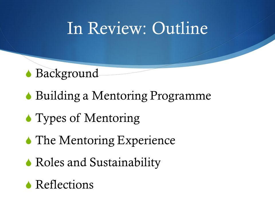 In Review: Outline Background Building a Mentoring Programme